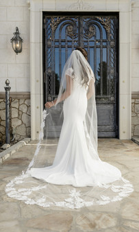 English tulle with beaded design