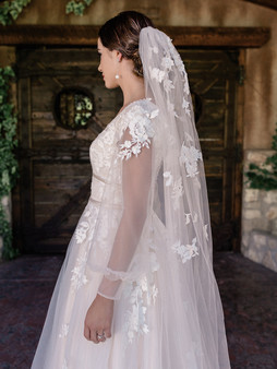 English tulle with scattered lace appliques