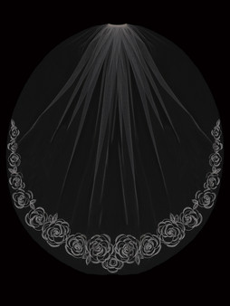 English tulle with embroidered design