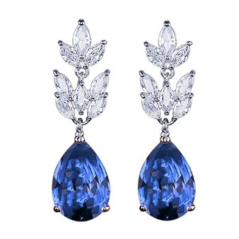 Starlet chic earrings in a unique vintage inspired design with a large sapphire blue cubic zirconia crystal on a rhodium plated finish.