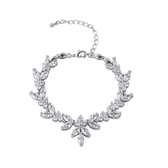 embellished with high quality clear cz crystals on a silver plated finish.