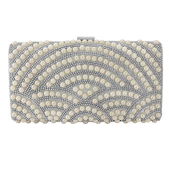 Silver clutch with pearls