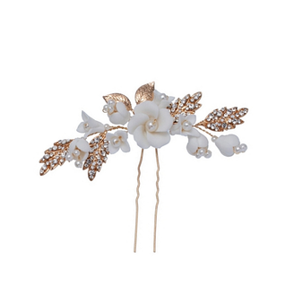 Rose Gold boho bridal hair pins, with ivory flowers.