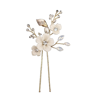 Embellished ivory clay flowers with gold finished leaves bridal hair pins.