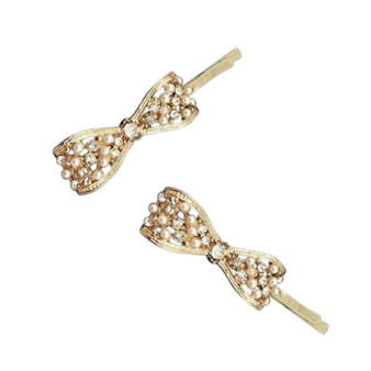 rhinestone embellished bridal hair pins bows on a gold finish.