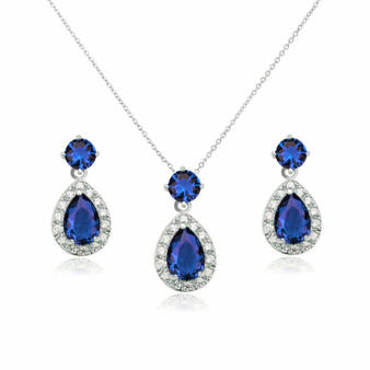 Sparkly cubic zirconia necklace set in a chic design with sapphire blue AAA cubic zirconia crystals in a pear shaped drop.