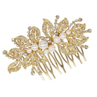 embellished with high quality clear crystals and simulated ivory pearls on a silver finish.