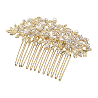 chic and stylish hair comb embellished with tiny simulated ivory pearls and clear crystals on a sparkly gold finish.