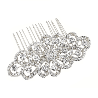 Crystal embellished hair comb in a vintage inspired design with clear crystals on a gold finish