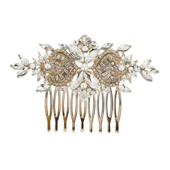 Vintage inspired exquisite crystal sparkle comb in a unique design embellished with clear crystals on a gold plated finish.