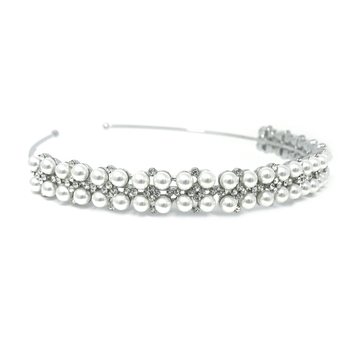 embellished with high quality simulated ivory pearls and clear crystals on a silver finish.