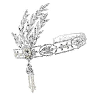 Gatsby inspired headpiece in a headband style flexible for a perfect fit with clear crystals and ivory pearls - ribbon can be attached or attach with hairpins