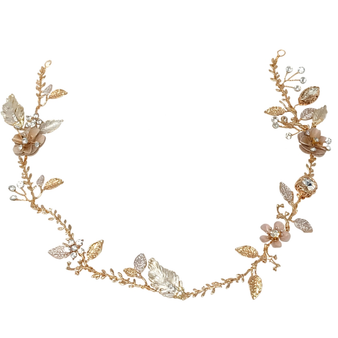 embellished with pink blush flowers and hand painted gold leaves on a gold finish.