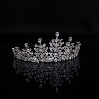 Cubic zirconia collection - crystal encrusted tiara - embellished with clear cut zirconia crystals in a cascading style. Adornment size is 20cm x 5cm.