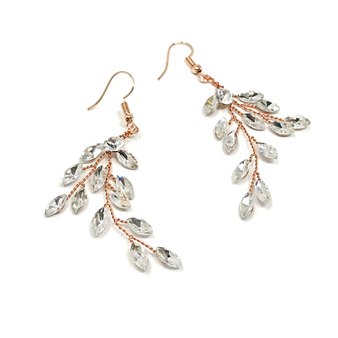 Glitzy crystal vine earrings - embellished with clear teardrop glass crystals on a rose gold vine.