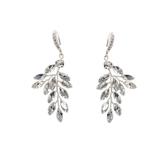 Chic crystal vine earrings - embellished with opal teardrop glass crystals on a silver vine.