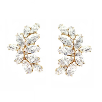 Truly Glamorous - Crystal earrings with a cluster of high quality cubic zirconia crystals on a champagne gold finish.