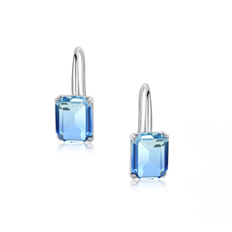 Chic and stylish dainty drop cubic zirconia crystal earrings with a square cut blue crystal.