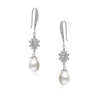 Glitzy glam pearl drop earrings - in a chic and stylish design - embellished with high quality clear crystals on a silver finish with simulated ivory pearls.