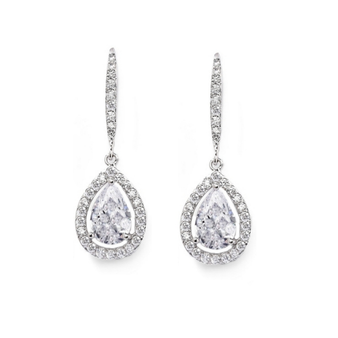 Shimmering crystal drop earrings - Sparkly cubic zirconia earrings in a pear shaped drop - elegantly designed.