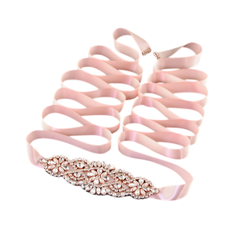 Crystal embellished belt with simulated ivory pearls and clear crystals on a rose pink satin belt