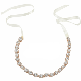 embellished with glitzy round cut clear crystals on a high quality rose gold plated finish. Complete with satin ivory ribbon.