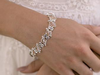 Rhodium plated rhinestone bracelet.