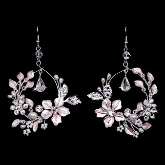 Rhodium plated rhinestone and pearl earrings