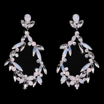 Rhodium plated rhinestone earrings