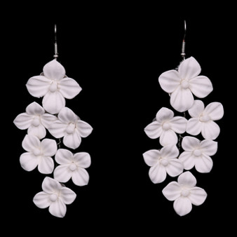 Ivory fabric flower earrings