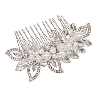 Pearl Shimmer Hair Comb-Silver