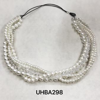 Pearl strands and crystals headband