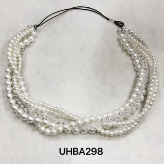 Pearl strands and crystals headband