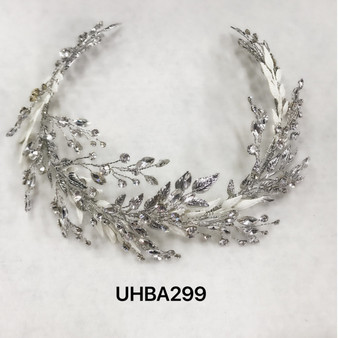 Leafy vines and rhinestones silver headband