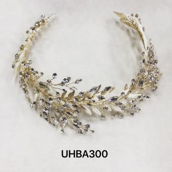 Leafy vines and rhinestones gold headband