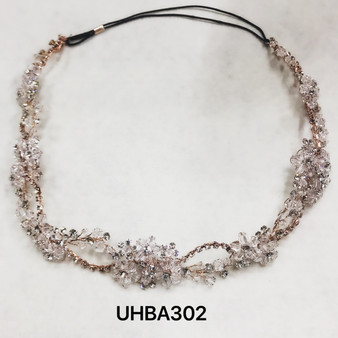 Crystal flowers and rhinestones rose gold headband