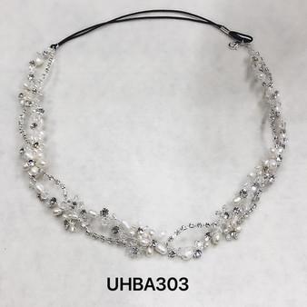 Pearl flowers, crystals and rhinestone silver headband