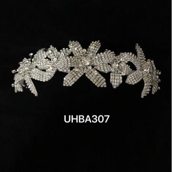 Silver floral rhinestone headband