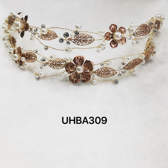 Pearl and rose gold floral headband
