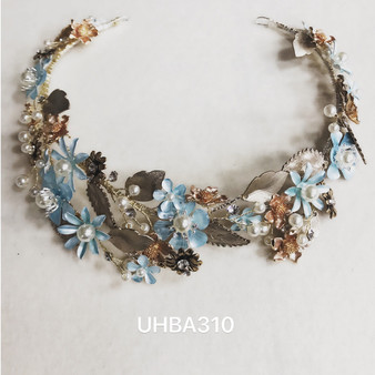 Light blue and rose gold floral headband
