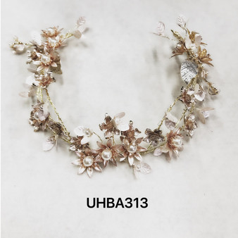 Two-tone floral pearl headband