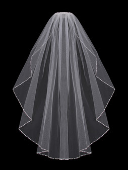 English tulle veil with rhinestone & beaded edge