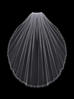 English tulle veil with cut edge and beaded and crystal vine design