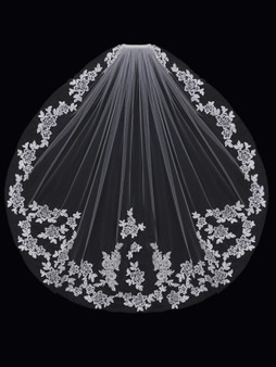 English tulle veil with lace edge and lace appliqu̩s