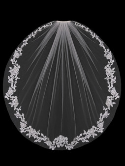English tulle veil with lace border edge