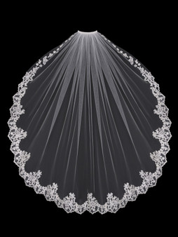 English tulle veil with lace edge around