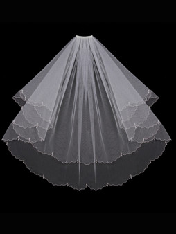 åÊEnglish tulle veil with dangling beaded edge