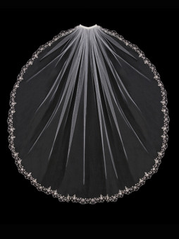English tulle veil with embroidered and beaded design edge