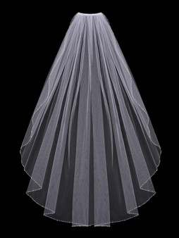 English tulle veil with beaded and crystal edge
