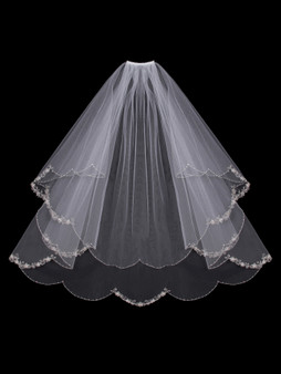 English tulle veil with embroidered and beaded scalloped edge